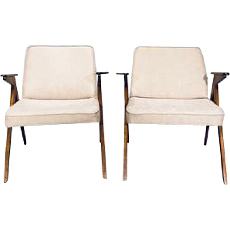 Pair of vintage armchairs Bunny by J. Chierowski 1960