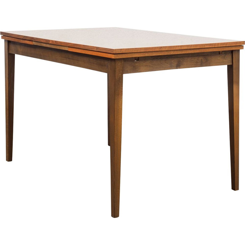 Vintage walnut extensible dining table 1960