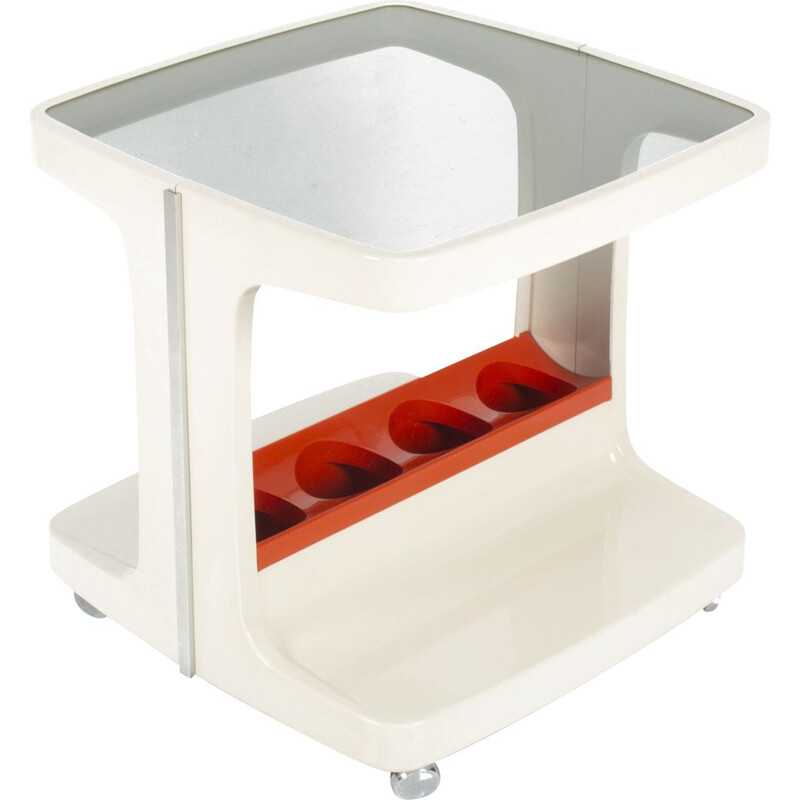 Vintage white and orange bar trolley by Marc Held 1970