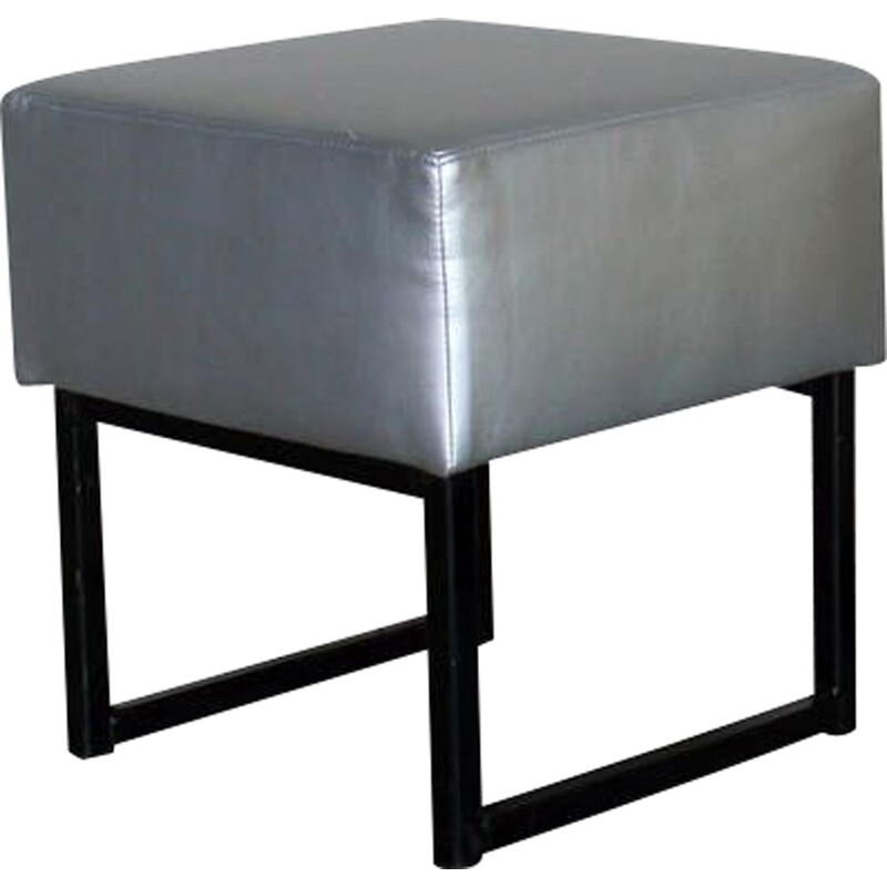 Vintage low modernist square stool