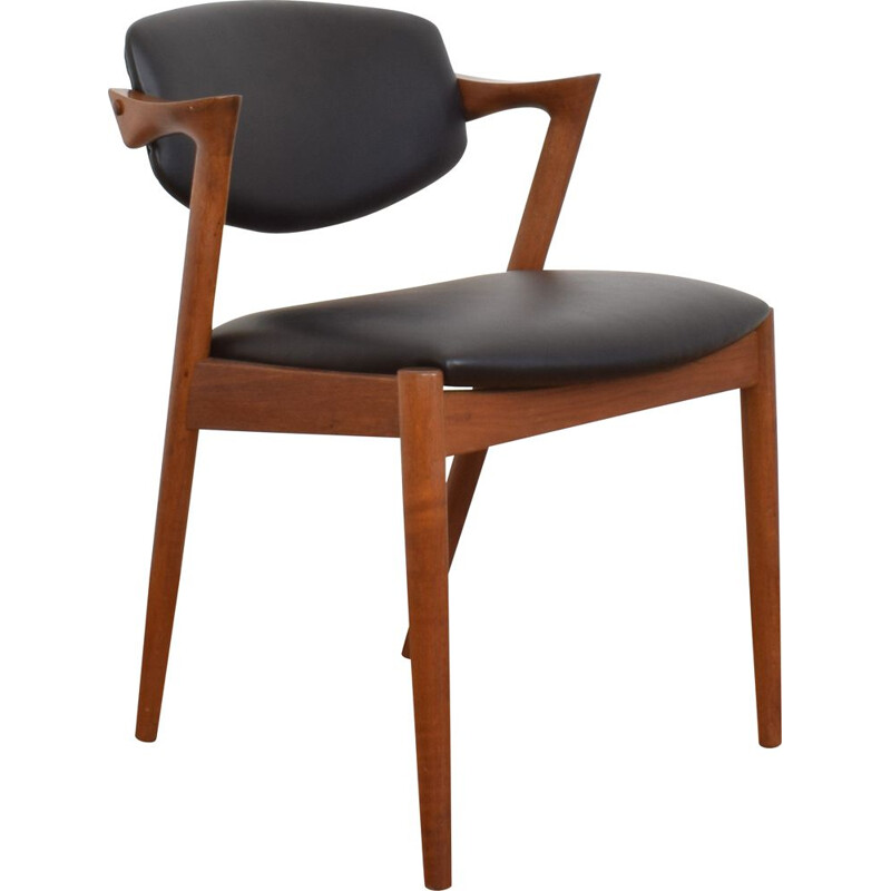 Mid-Century Teak and Leather Dining Chair Model 42 by Kai Kristiansen for Schou Andersen Danish 1960s