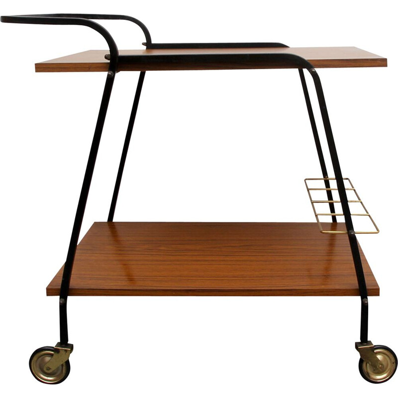Vintage bar trolley in wooden formica and brass 1960s