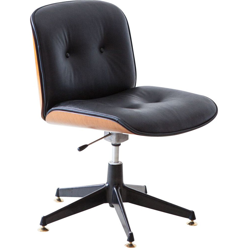 Vintage Desk Chair with Black Leather by Ico Parisi for MIM Roma 1960s