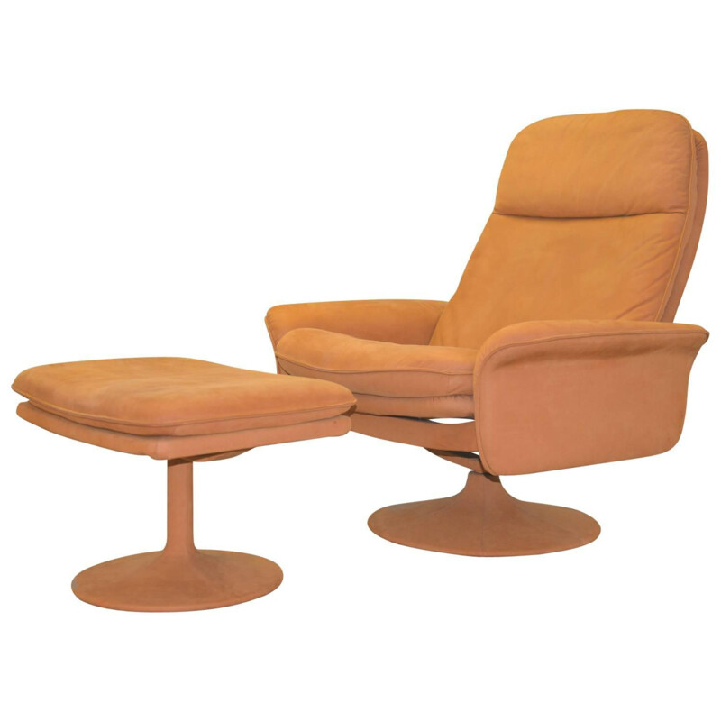 De Sede armchair and his ottoman in suede leather - 1970s