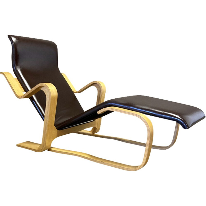 Vintage leather and beech deckchair Marcel Breuer