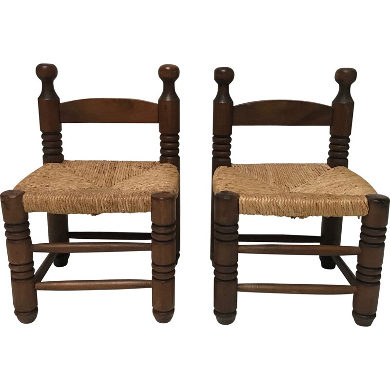 Pair of Vintage Rustic wicker and oak low stools by Charles Charles Dudouyt 1940s
