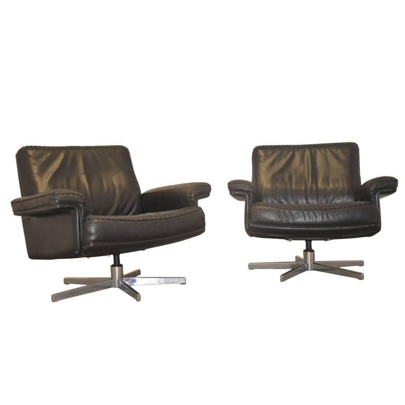 """Pair of De Sede """"DS 35"""" armchairs in black leather - 1970s"""