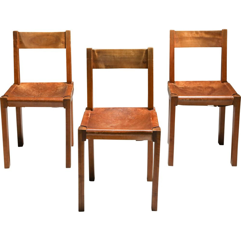 3 Vintage 'S24' Chairs in Elm and Cognac Leather Pierre Chapo 1970s