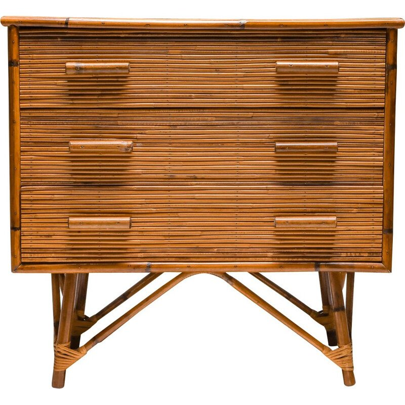 Vintage Rattan Drawer Chest by Vivai del Sud 1970s