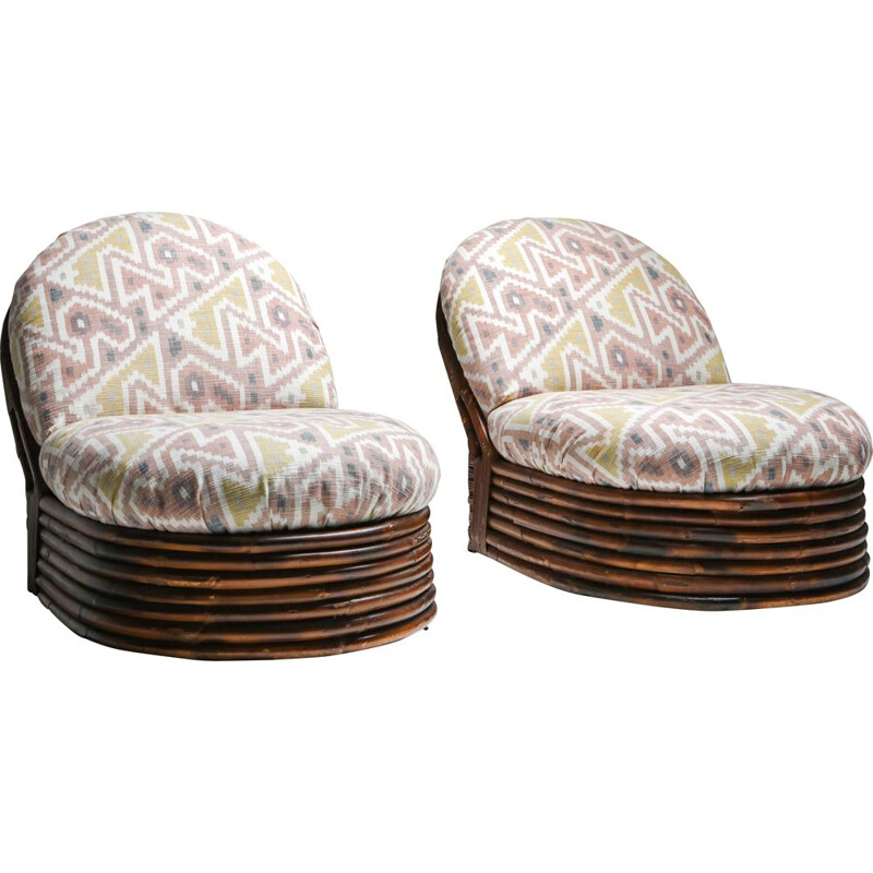 Pair of Vintage Bamboo Lounge Chairs in Pierre Frey Jacquard 1970s