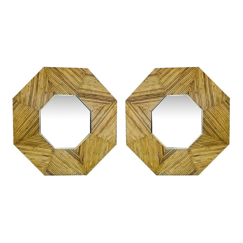 Pair of Vintage Rattan and Brass Framed Mirror