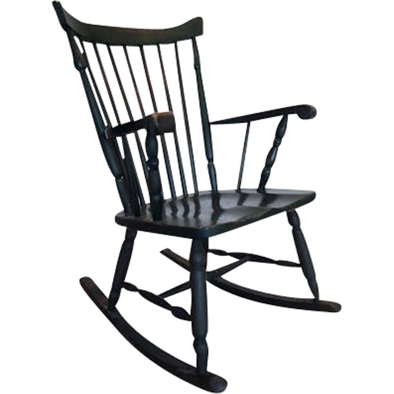 Vintage wooden rocking chair, 1970