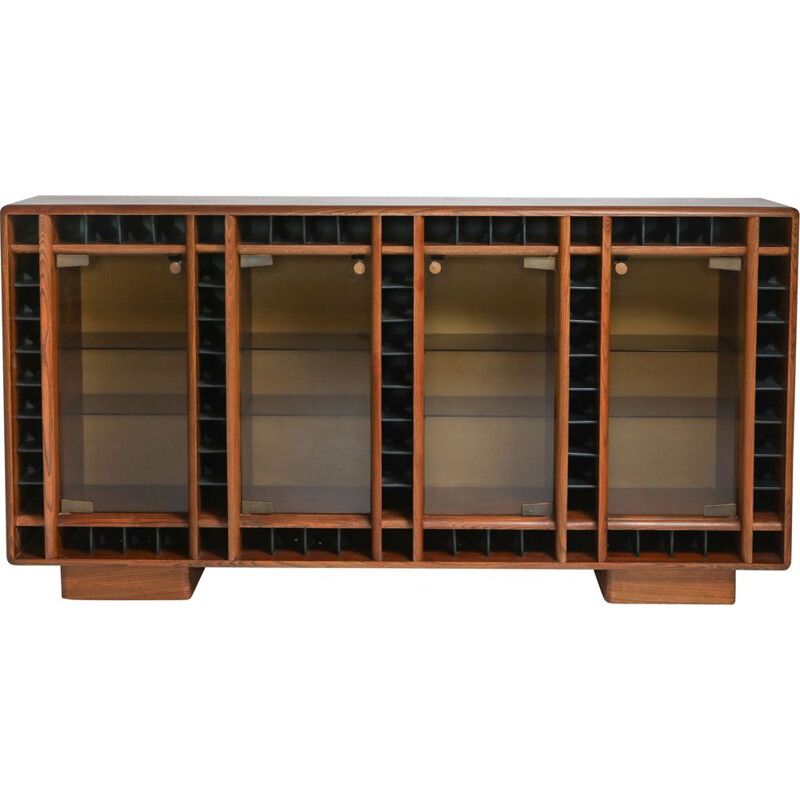 Vintage oak sideboard with glass doors and space for bottles Italian 1970s