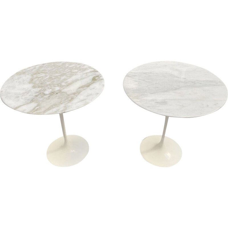 Pair of vintage Eero Saarien marble pedestal tables for Knoll International, 1970