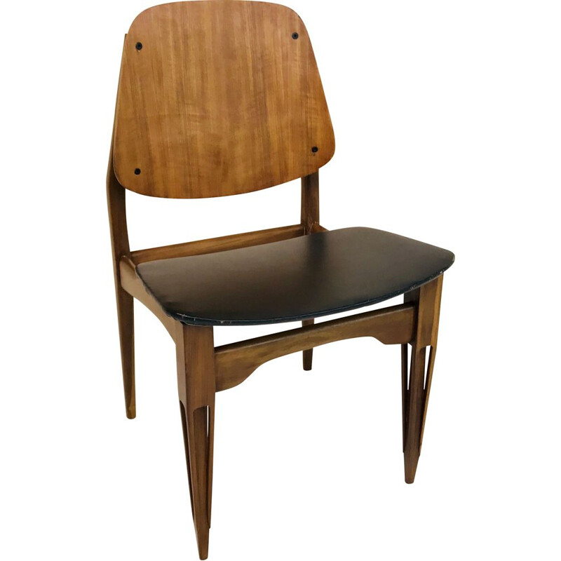 Vintage wooden and skai chair, Italy 1960