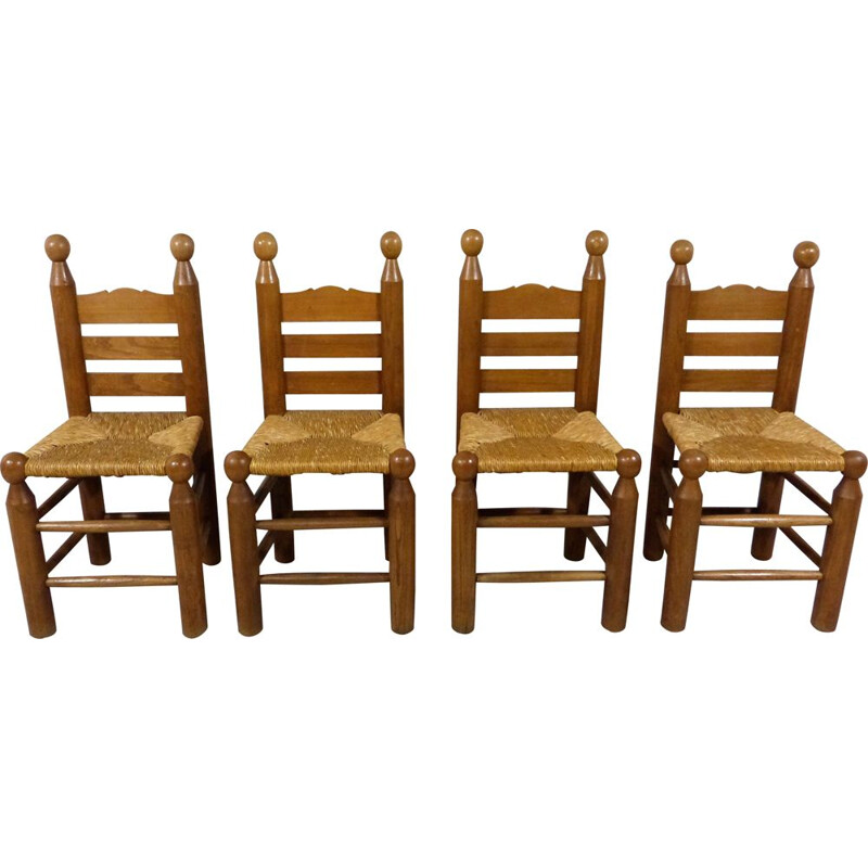 Set of 4 vintage chairs in Charles Dudouyt 1960s