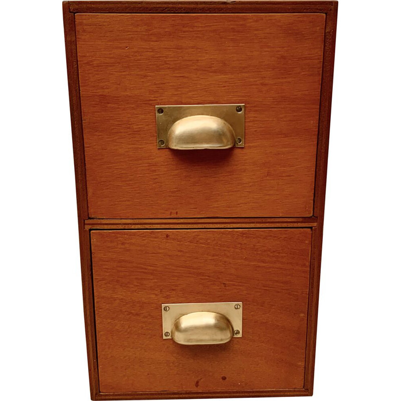 Small Vintage Desk Top Filing Cabinet Tidy Storage