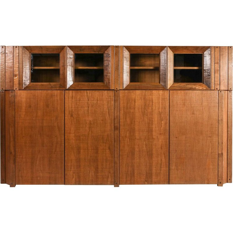 Vintage Solid Walnut Credenza with Vitrine Top Rivadossi Italy 1970s