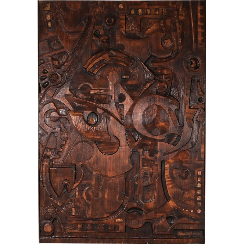 Vintage Carved Wall Panel by Studio Ponzio, Italy 1930s