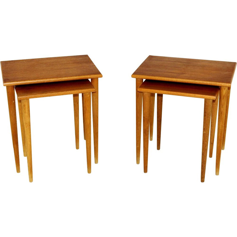 4 Vintage teak and oak nesting tables, Sweden 1960