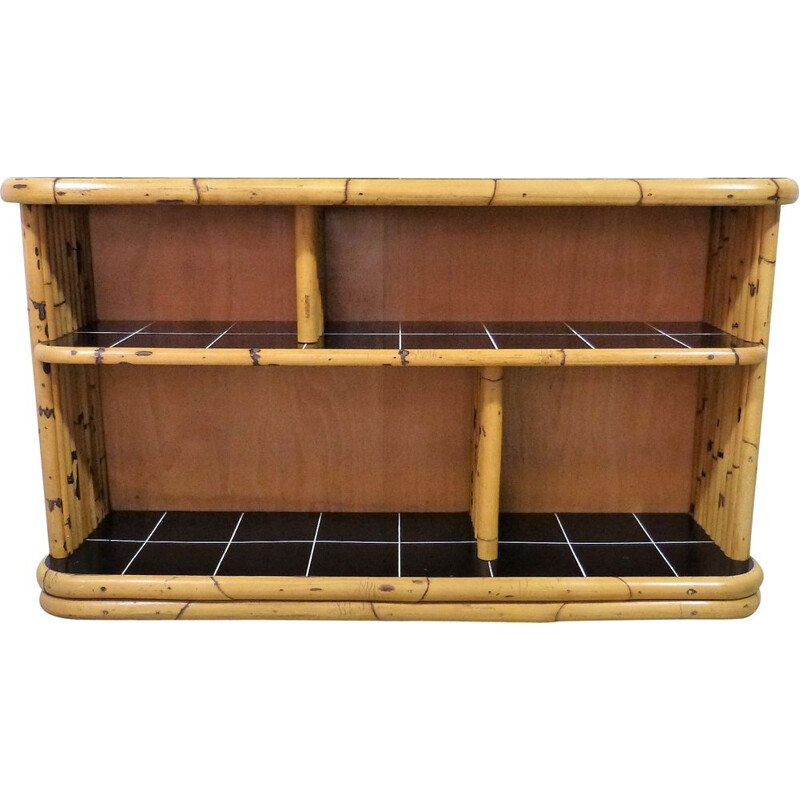 Vintage Bamboo display  rack with black tiles 1950s