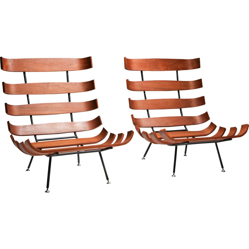 Pair of Vintage 'Costela' Lounge Chairs Eisler and Hauner 1960s