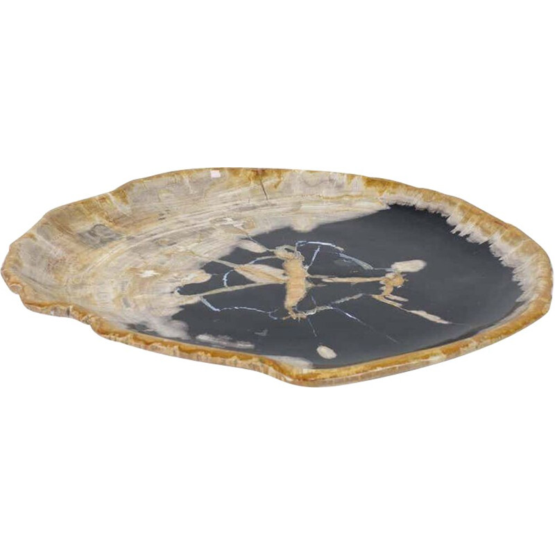 Large vintage Black And Beige Petrified Wooden Platter, Accessory Of Organic Origin