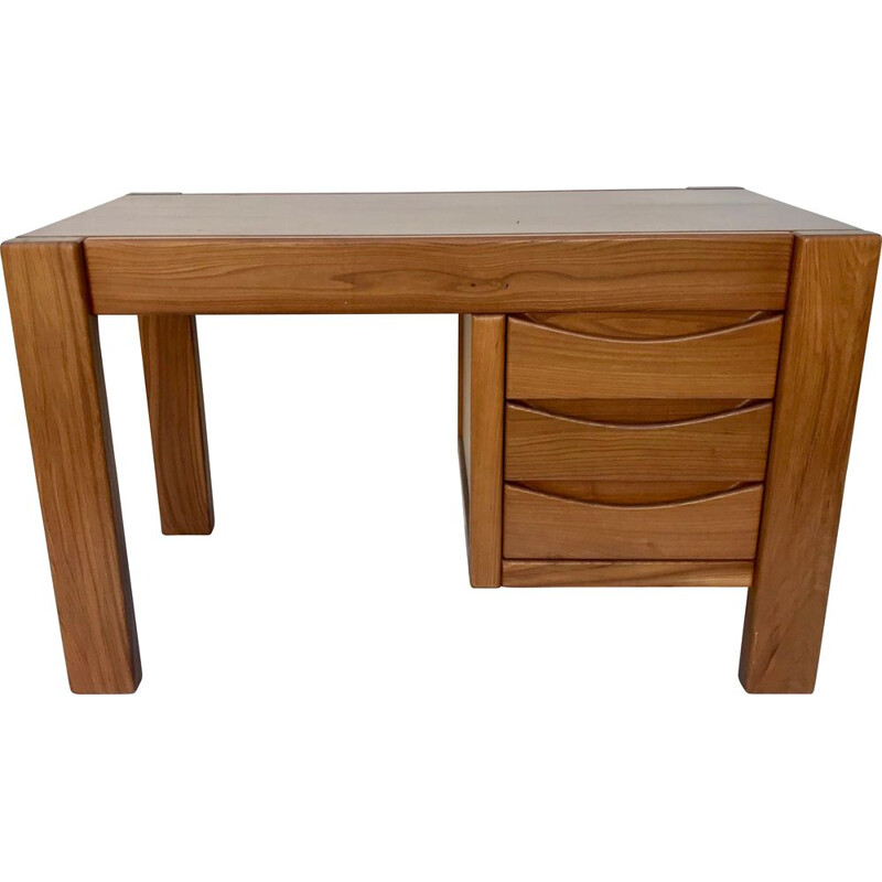 Vintage solid elm desk, Maison Regain, France, 1970