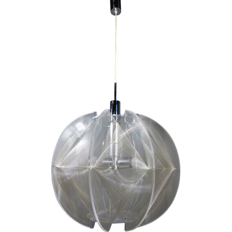 Large vintage round hanging lamp by Paul Secon for Sompex, Germany