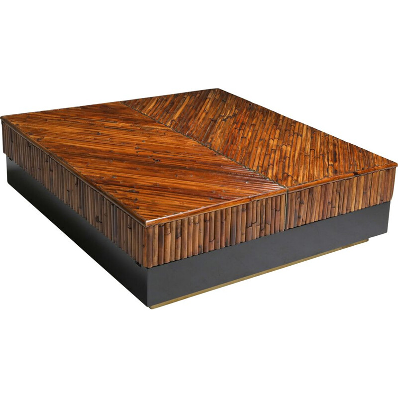 Vintage Bamboo Black Lacquer and Brass Coffee Table, Italy 1970s