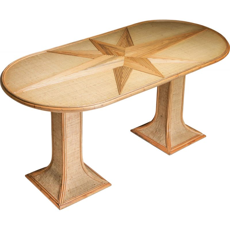 Vintage Table by Vivai del Sud Rattan and Bamboo 1970s