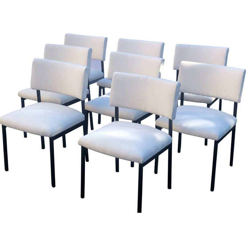 Set of 8 vintage Joseph André Motte chairs, Steiner Edition 1960