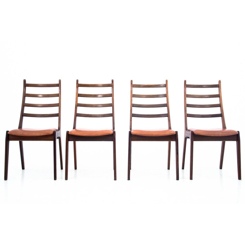 4 vintage rosewood dining chairs by Kai Kristiansen 1960s