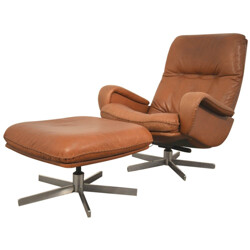 "De Sede ""S 231"" armchair and his ottoman in brown leather - 1960s"