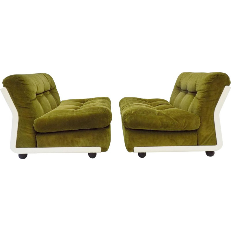 Pair of vintage reed green lounge chairs by Mario Bellini Italia BB Amanta