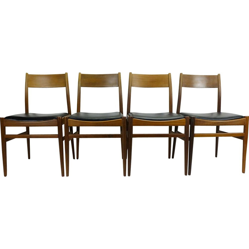 4 mid century  dining chairs mahogany black leatherette 1960s