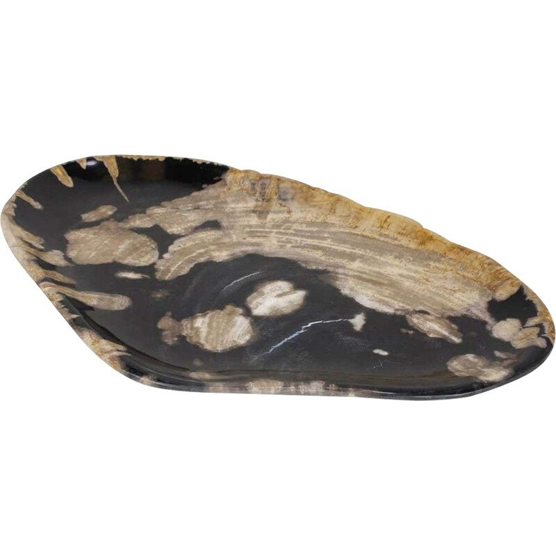 Vintage Black And Beige Oval Shaped Petrified Wooden Platter Or Plate Organic Origin
