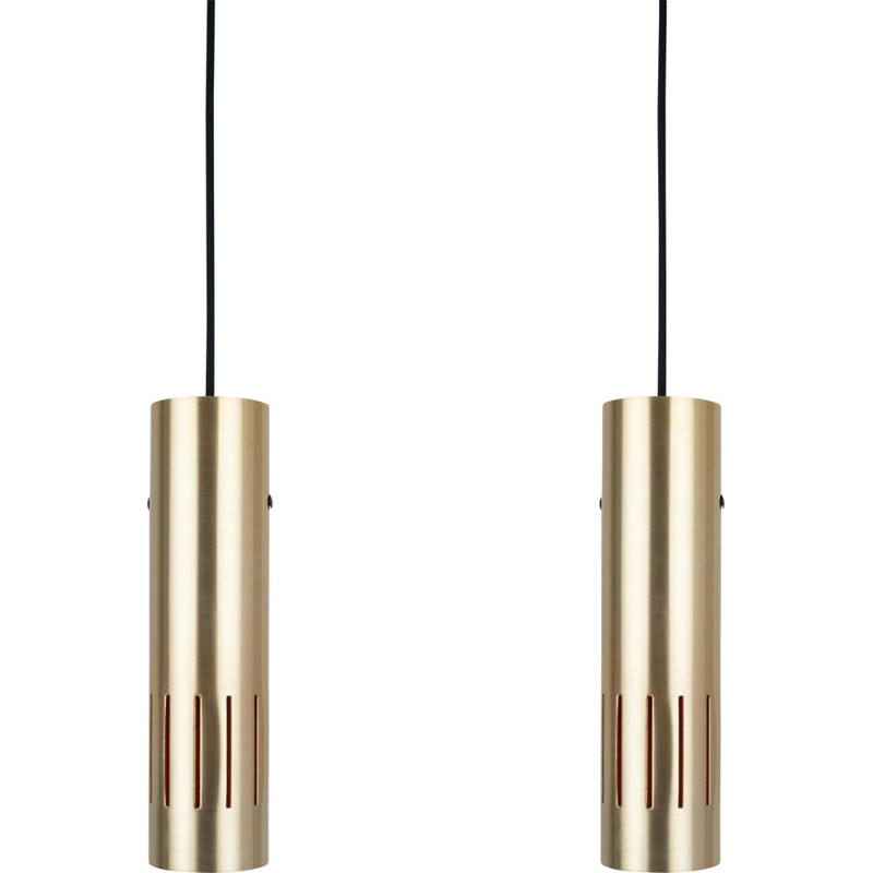 Pair of vintage lamps Trombone by Jo Hammerborg, Fog og Morup danish 1960s
