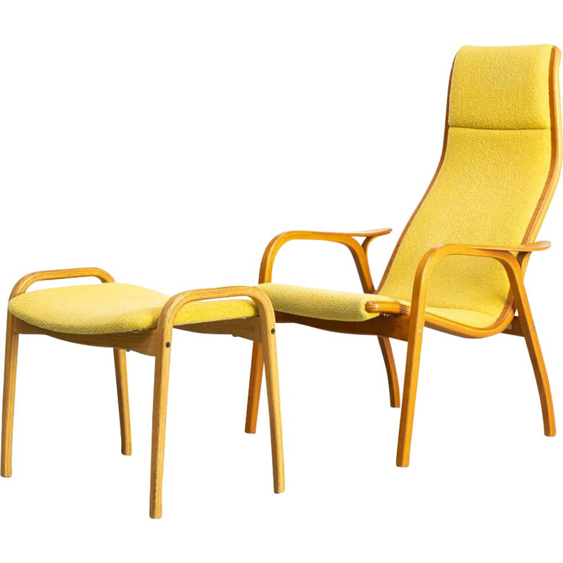 Vintage 'Lamino' fauteuil and hocker  Yngve Ekström for Swedese Møbler AB 1950s