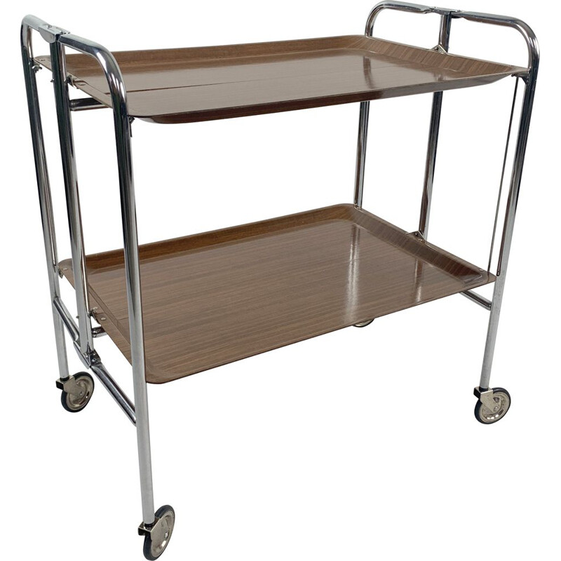 Mid-century Vintage Chrome and Laminated Wood Folding Serving Trolley, 1950s
