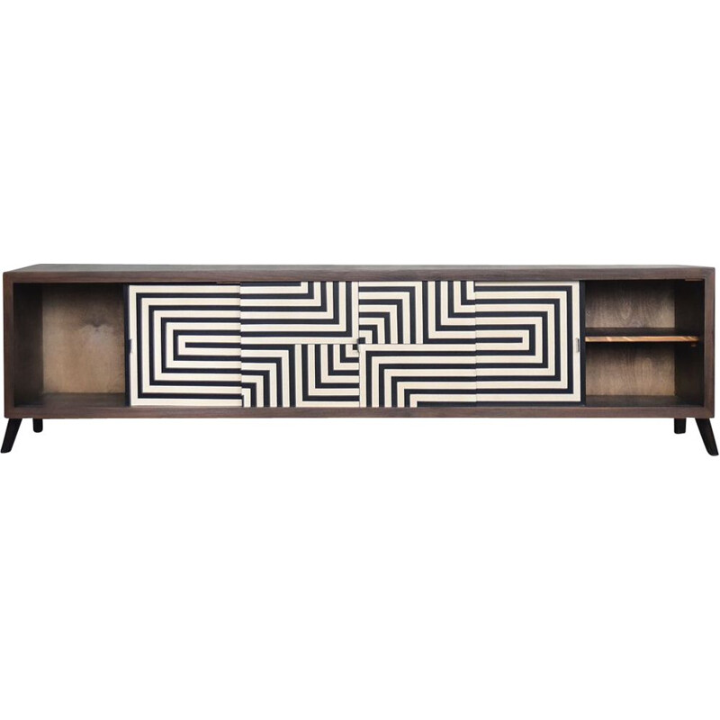 Low vintage Black & White Patterned Walnut Sideboard, Scandinavian 1960s