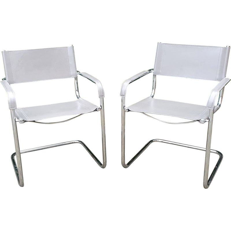 Pair of  vintage S34 Leather and Chrome Cantilever Chairs by Mart Stam 1927