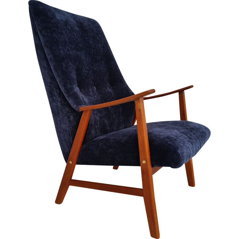 Vintage armchair  velour teak wood renovated Danish 1970