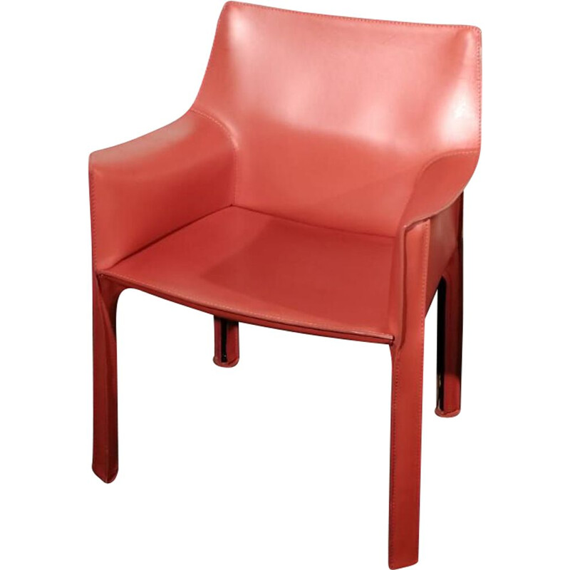 Vintage red leather armchair CAB 413 by Mario Bellini for Cassina