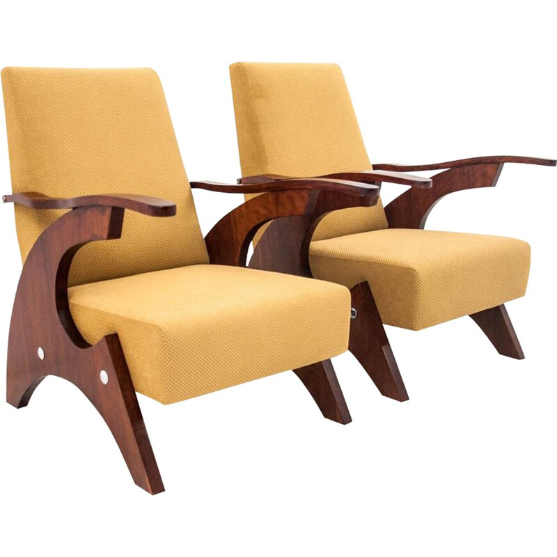 Pair of Vintage Yellow armchairs, Poland, 1960s