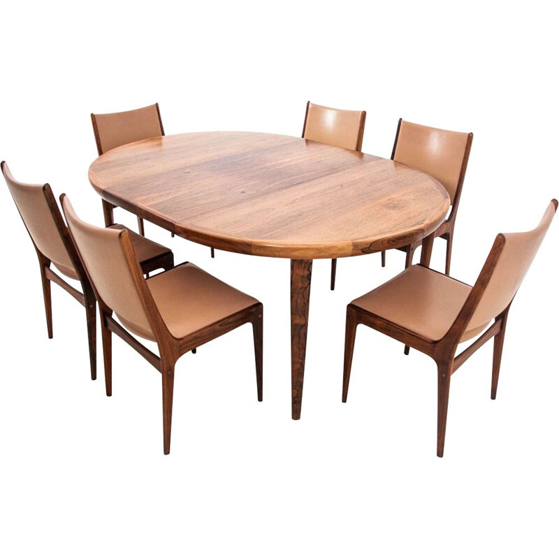 Vintage Set 6 Dining  J. Andersen chairs with table, Denmark 1960s