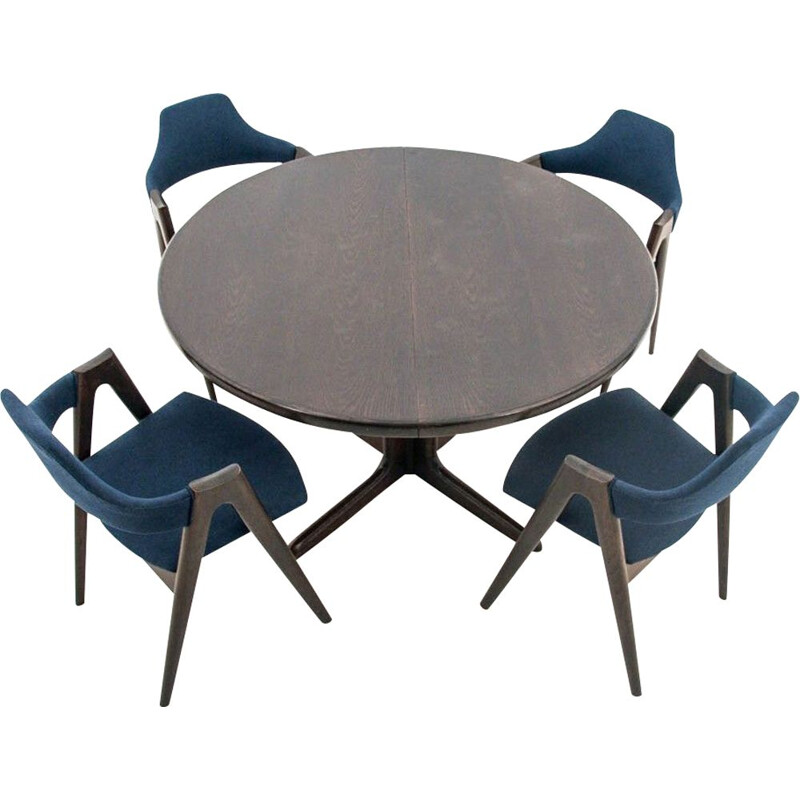 Vintage Dining set, Skovby table + 4 Compass chairs, Denmark, 1960s