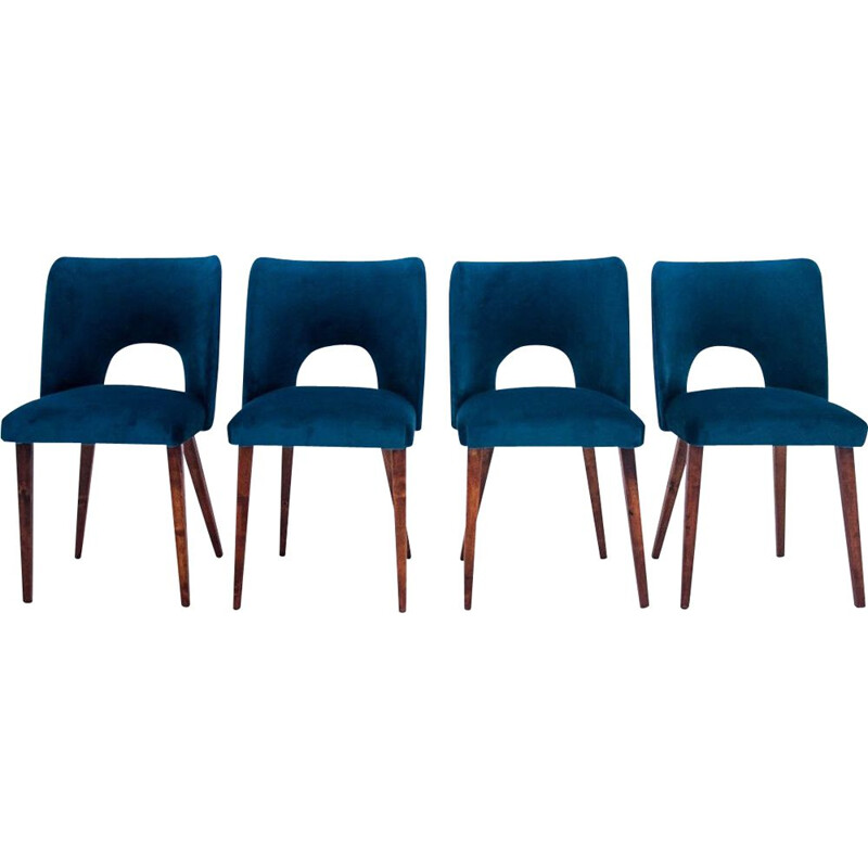4 mid-century chairs in navy blue 1960s