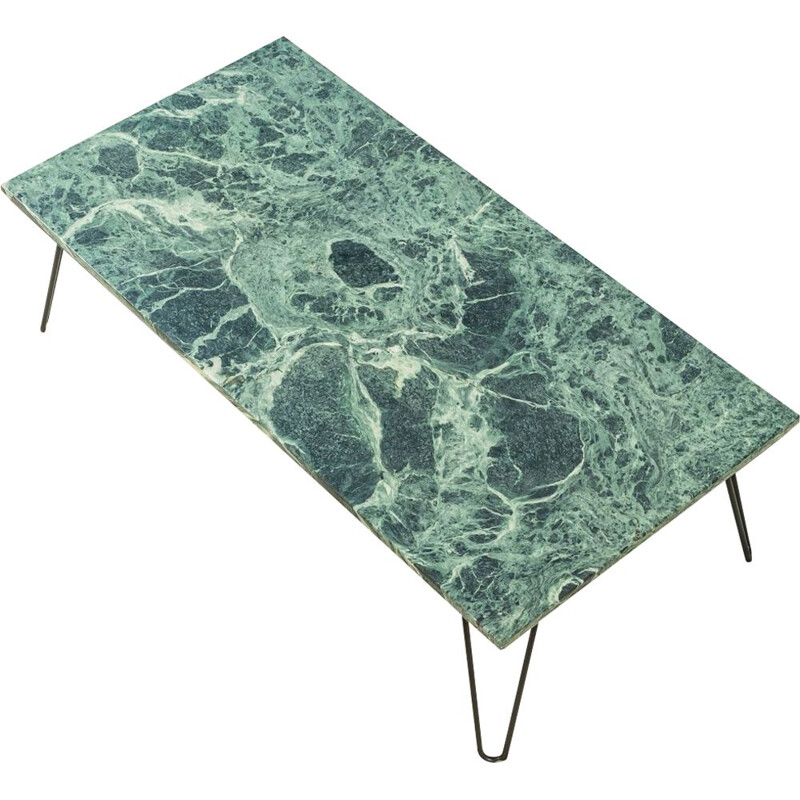 Vintage coffee table marble in green and cream tones 1960s