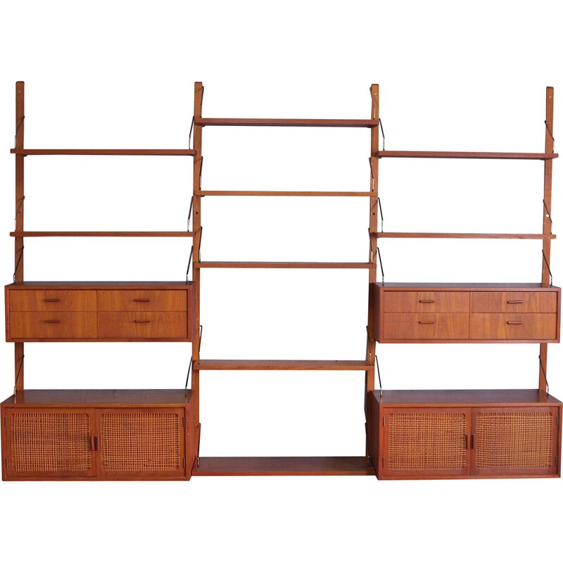Mid Century Teak Wall Unit by Gustav Bahus, Norway 1960s
